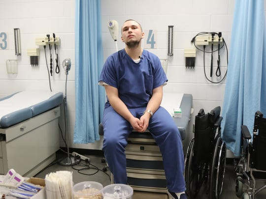 Thomas Sussina in the Bergen County Jail's medical unit, where he goes to take Vivitrol. He is in the second day of a program in which he takes Vivitrol to help end his opioid addiction.