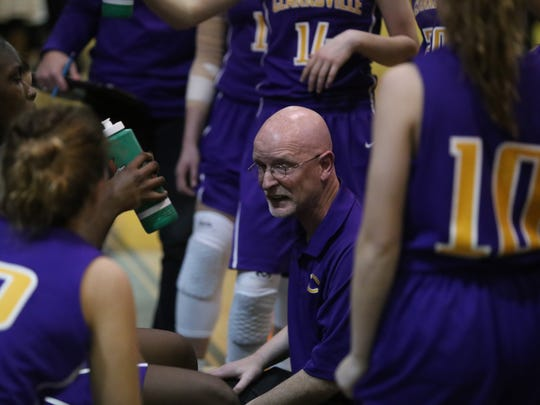 Clarksville High girls coach Brian Rush talks with his team during a timeout against Rossview in the District 10-AAA tournament semifinal on Feb. 17, 2018, at Northeast High.