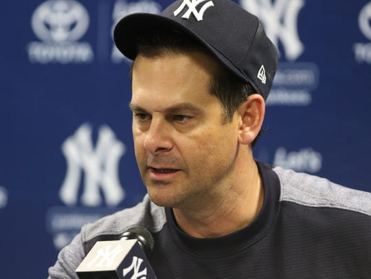 Yankees workout this afternoon. Manager, Aaron Boone