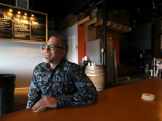 Jeff VanderMeer, local author of the book Annihilation, which has been made into a Hollywood production staring Natalie Portman and will open in theaters Feb. 23, at local brewery Ology on Friday, Feb. 16, 2018.