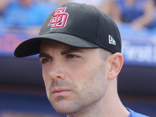 David Wright wears a Stoneman Douglas baseball cap