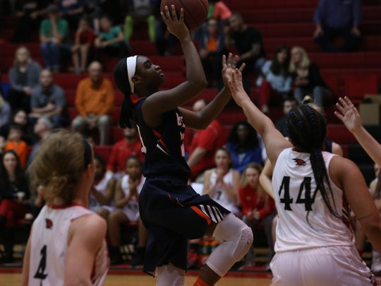 Beech's Shiya Hoosier puts up a running jumper in the