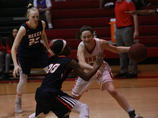 Beech's full court defense gave Rossview fits during their Region 5-AAA quarterfinal game Friday night. Macy Rippy, of Rossview, tries to find a way around that pressure.