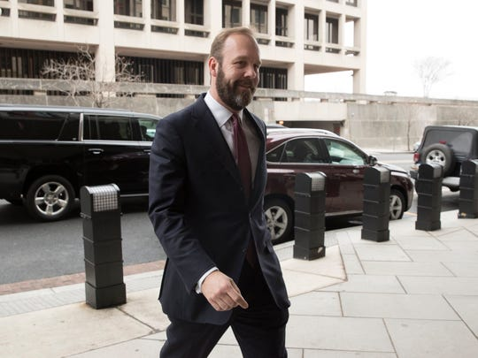 Rick Gates, the former associate to former Trump campaign manager Paul Manafort, arrives at the Federal Courthouse in Washington, DC, USA, Feb. 23, 2018.