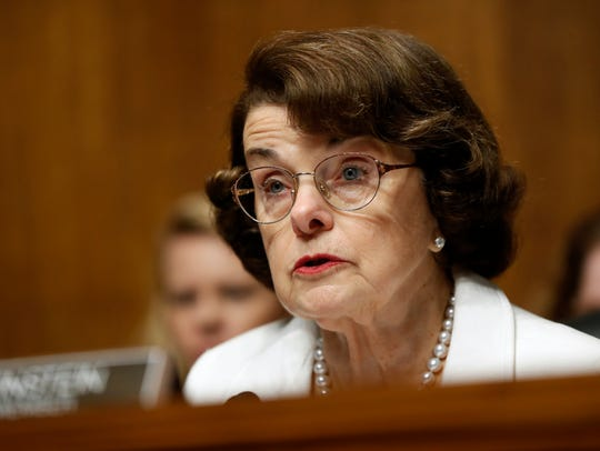 In this July 12, 2017, file photo, Sen. Dianne Feinstein, D-Calif., ranking member on the Senate Judiciary Committee, who is running for re-election, speaks on Capitol Hill in Washington.