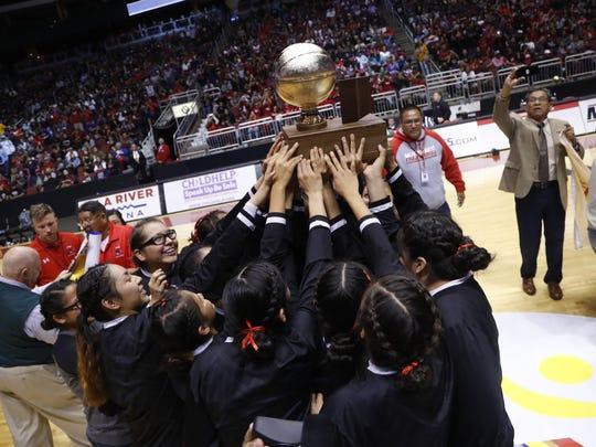 Page celebrates winning the 3A Girls State Championship