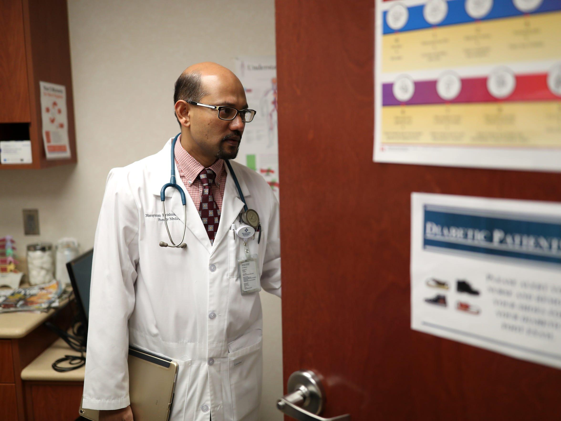 Dr. Narayanan Krishnamoorthy treats patients at his