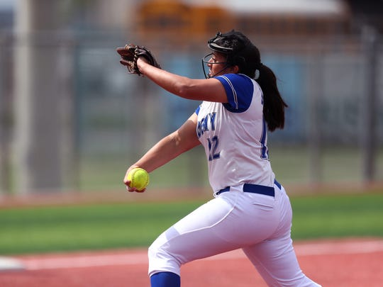 Santa Gertrudis' Said Castillo comes in to relief pitch in the second inning of the game against St. Agnes during the Mira's CCISD Bayfront Bash on Friday, March 2, 2018 at Cabaniss Softball Field. Santa Gertrudis racked up five runs in the first, but couldn't hold the lead and lost 7-6.