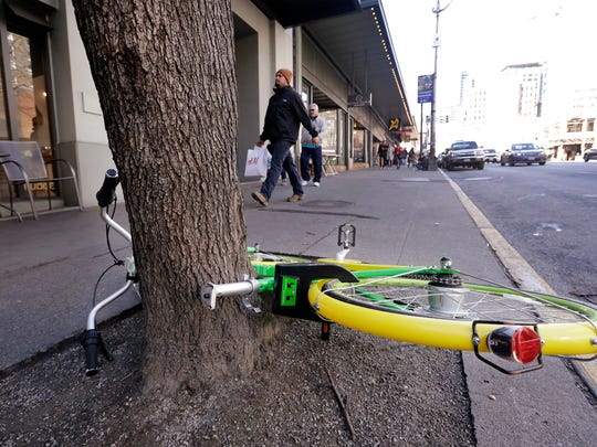 """In this Feb. 22, 2018, a """"dockless"""" bicycle missing"""