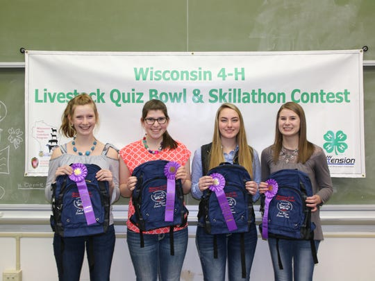 This team from Marathon County placed first in the Senior Skillathon contest. Members include (from left) Kailen Smerchek, Stephanie Witberler, Cortney Zimmerman, Emilie Pauls.