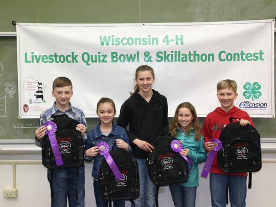 Grant County took top honors in the Junior Skillathon competition. Team members are (from left) Cameron Patterson, Libby Vogt, Jessica Patterson, Leah Patterson, Luke Patterson.