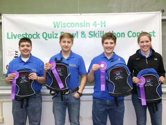 Winners of the Mixed Quiz Bowl is the Jackson County team comprised of (from left) Austin Laufenberg, Trent Laufenberg, Kaden Moseley, Rachel Moseley.