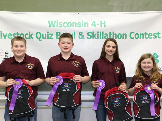 Members of the first place Junior Quiz Bowl from Sheboygan