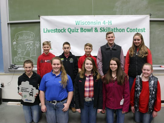The top individual finishers in the Junior Skill-a-Thon event include (front row from left)  Jessica Patterson, Grant; Grace Kling, Jackson #1; Samantha Rake, Columbia; Faith Baerwolf, Columbia; Kendyll Theobald, Dane. Back row (from left) Luke Patterson, Grant; Joey Robinson, Iowa #1; Luke Fischer, Jackson #1; Ethan Lulich, Juneau #1; Leah Huchthausen, Dane.