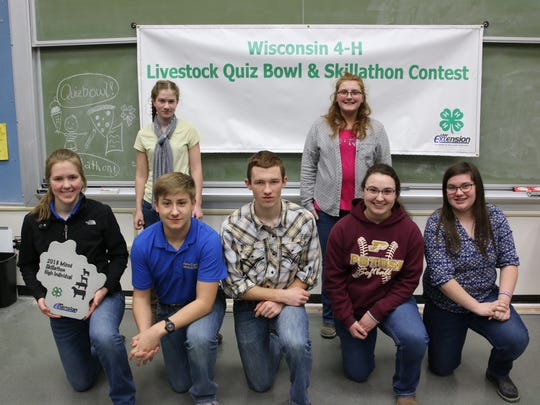 Competitors placing in the top individual competition in the Mixed division include front row (from left) Rachel Moseley Jackson; Trent Laufenberg, Jackson; Josh Leonard, Marathon; Hannah Nusbaum, Grant; Kendra Jentz, Grant. Back row (from left) Alison Leonard, Marathon, Bailey Abney, Lafayette; (absent), Braden Abney, Lafayette (Absent); Alayna Barth, Grant; Cody Wick, Lafayette (absent).