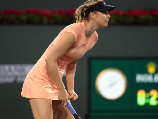 Maria Sharapova, of Russia, during her first set with
