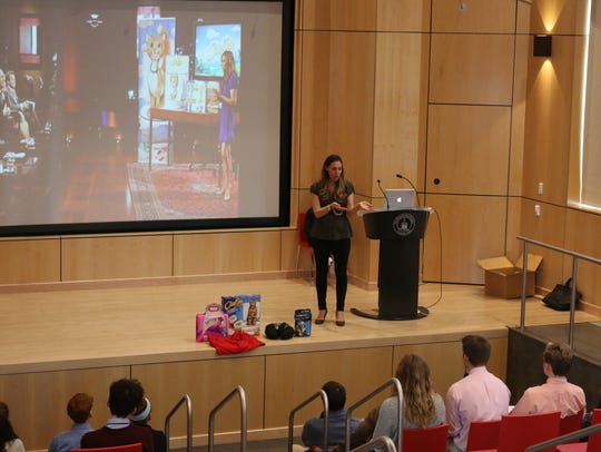 Rebecca Rescate delivered a speech at The Pennington
