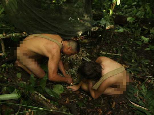 "Cesar Aliva and Leah Chandler put their heads together to build a fire. The episode of ""Naked and Afraid"" featuring Dry Prong's Chandler airs Sunday."