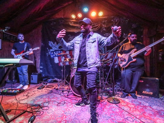 Eevaan Tre performs at the Tachevah semi-final showcase at Pappy + Harriet's Pioneertown Palace on Thursday, March 15, 2018.