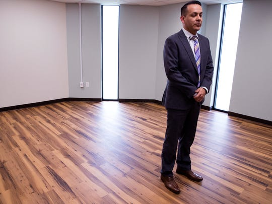 Joe Perez, Director of the VA Texas Valley Coastal Bend Health Care System, speaks about the rebuild of the VA outpatient clinic on Old Brownsville Road on Friday, March 16, 2018. The facility received extensive damage during Hurricane Harvey and had to be completely gutted. Some patients have been seen at the clinic, however it officially reopens Monday.