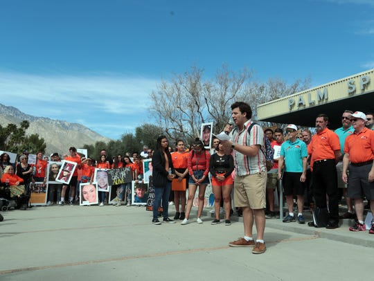 Rancho Mirage High School student Garrett Hoy speaks
