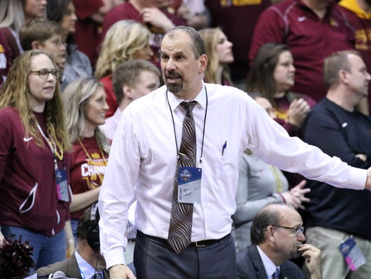Northern State Head Coach Paul Sather coaches his team