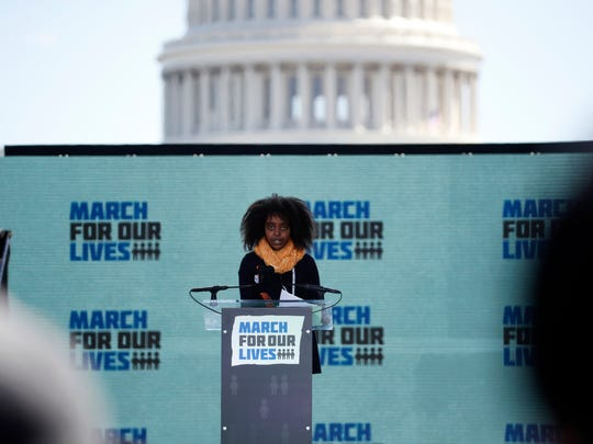 "Naomi Wadler, 11, a student at George Mason Elementary School, speaks during the ""March for Our Lives"" rally in support of gun control on Saturday."