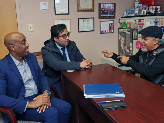 Luis Rodriguez, left, president of La Casa Dominicana NJ; Cristian Moreno-Rodriguez of Atlantic City Coalition for Immigrant Justice; and Javier Soto, vice president of Local 54 talk about working together in Atlantic City.