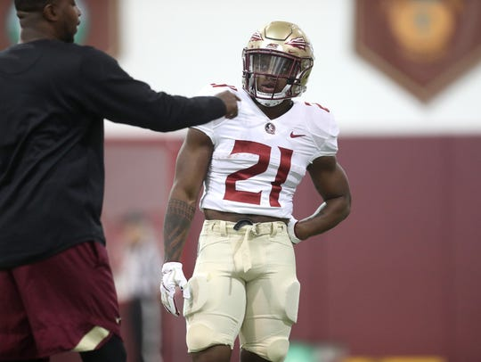 FSU's Khalan Laborn works out with teammates during