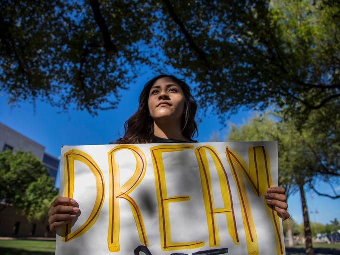 """Dreamer"" Fabiola Espinoza protests outside the Arizona"
