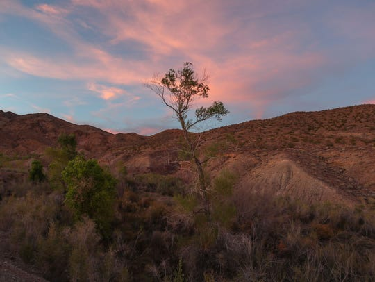 The setting sun lights up the sky over Bonanza Spring in the Mojave Desert.