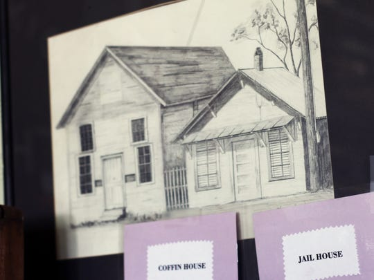 A sketch of the jail and coffin house in Colbert, Ga., is on display in the city's small history museum in City Hall. The building is no longer standing. Colbert jail is where Lent Shaw was held when he was arrested April 10, 1936, accused of attacking a white woman.