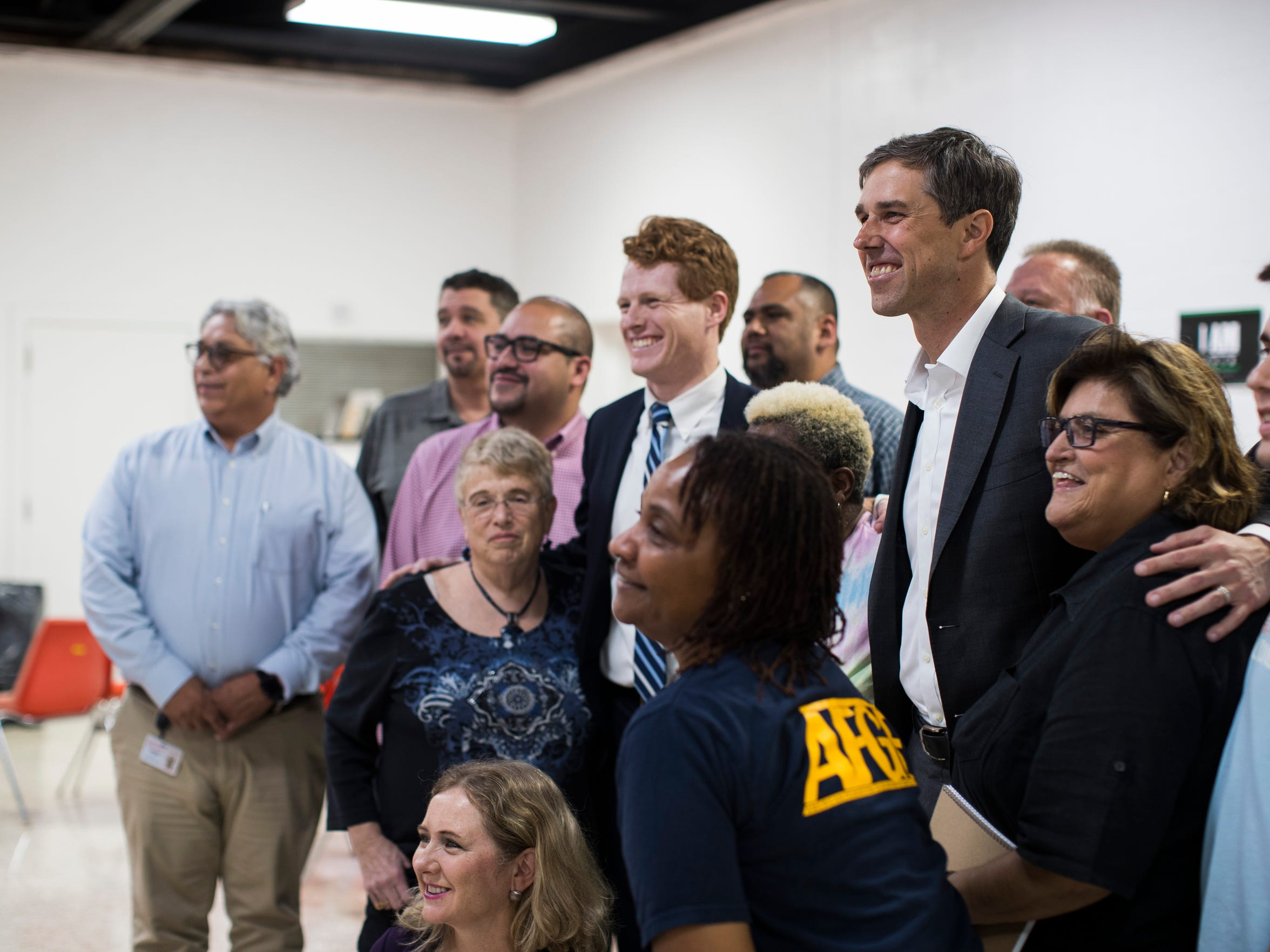 U.S. Reps. Beto O'Rourke and Joe Kennedy meet with labor organizers in Houston as part of O'Rourke's Senate campaign. O'Rourke has worked to smooth over his relationship with state's AFL-CIO, which initially declined to endorse his campaign after he missed its convention. They have since put their support behind him.