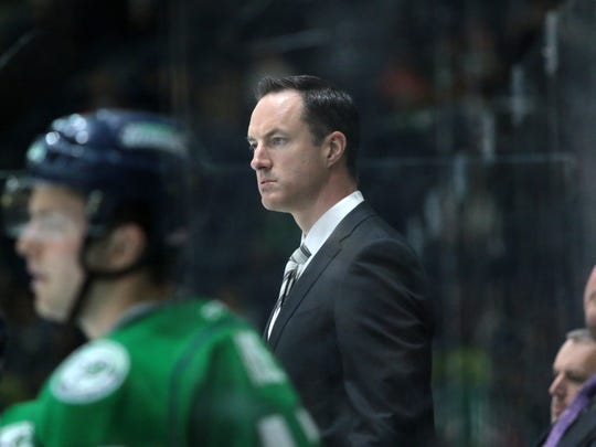 Florida Everblades coach Brad Ralph looks on during the Everblades' final regular season home series against the Greenville Swamp Rabbits at Germain Arena on Friday, March 30, 2018. The Blades defeated the Swamp Rabbits, 5-3, and move to 48-13,-2-4 on the season.