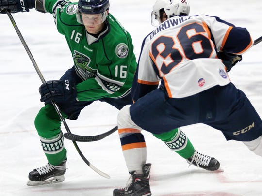 Florida Everblades forward Steven Lorentz faces off during the Blades' game against the Greenville Swamp Rabbits at Germain Arena on Friday, March 30, 2018. The Blades defeated the Swamp Rabbits, 5-3, and move to 48-13,-2-4 on the season.