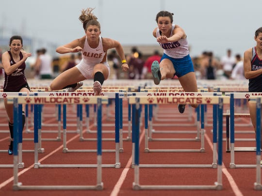 Alice runner Criselda Cruz competes during the girls 300-meter hurdles at the District 30-5A track meet on Thursday, April 5, 2018 at Ray Akins Wildcat Stadium in Portland.