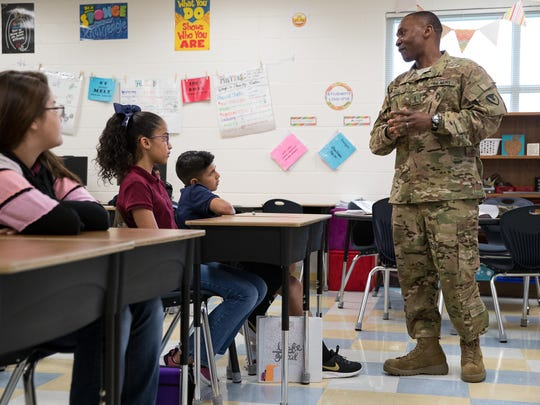 Army pilot Tony Luke, who is based at the Corpus Christi Army Depot, talks to a fifth-grade class at Kolda Elementary School about leadership on Friday, April 6, 2018.