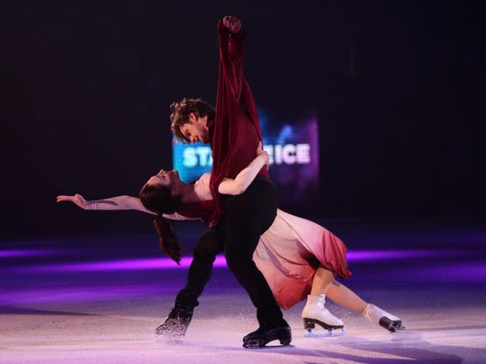 Olympic stars Meryl Davis and Charlie White perform during the first night of the Stars on Ice tour at Germain Arena on Friday, April 6, 2018.
