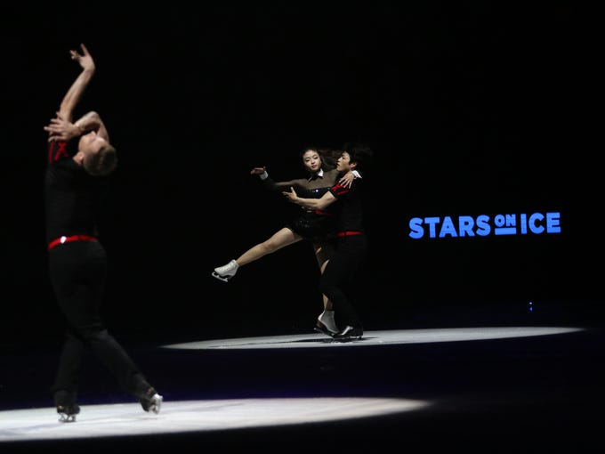 Olympian Adam Rippon, left, and Maia and Alex Shibutani