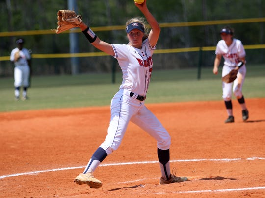Estero's Lauren Hobbs pitches during the Wildcats' game against Tampa-Holy Names at 22nd Annual Bill Longshore Memorial Softball Tournament at North Collier Regional Park on Saturday, April 7, 2018.