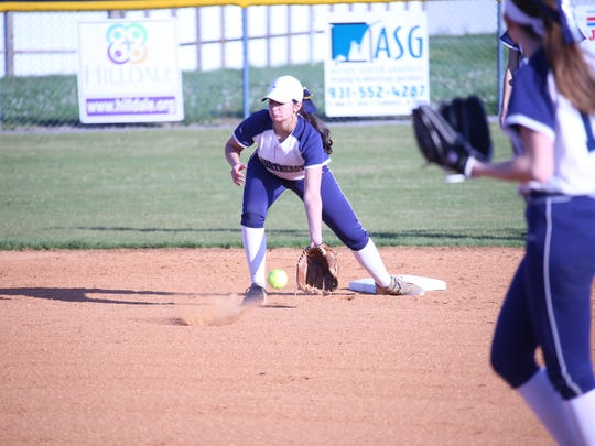 Northeast shortstop Lauren Veltri fields a ground ball