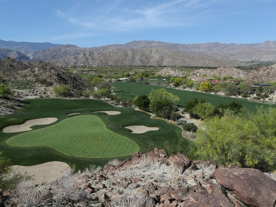 The par-3 16th hole at The Reserve Club in Indian Wells