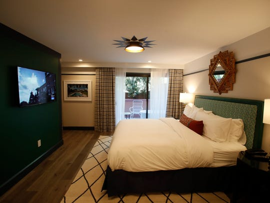 The Sands Hotel and Spa in Indian Wells was originally built in the late 1950s. The hotel has been completely remodeled in collaboration with interior designer Martyn Lawrence Bullard. This is an image of one of the rooms in the hotel -- each one with its own color scheme.