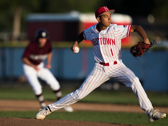 Robstown's Victor Moreno pitches during their game against Sinton on Tuesday, April 10, 2018 at Steve Castro Field in Robstown.