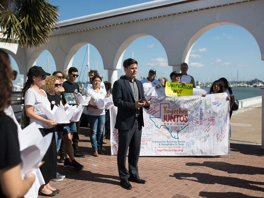 Immigration lawyer Justin Tullius speaks during the  Dreaming for Justice event hosted by  the Corpus Christi Immigrant Coalition on Wednesday, April 11, 2018 at the Selena Memorial Statue.