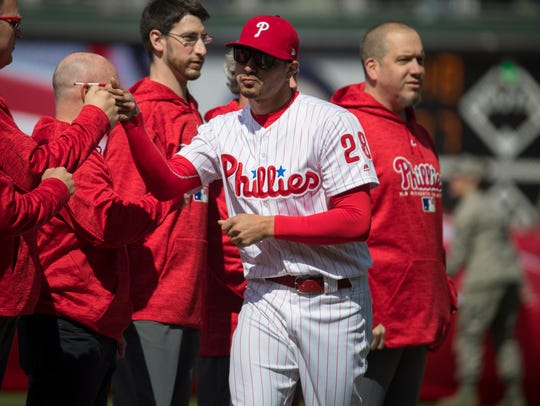 Phillies' Vince Velasquez enters the field during player
