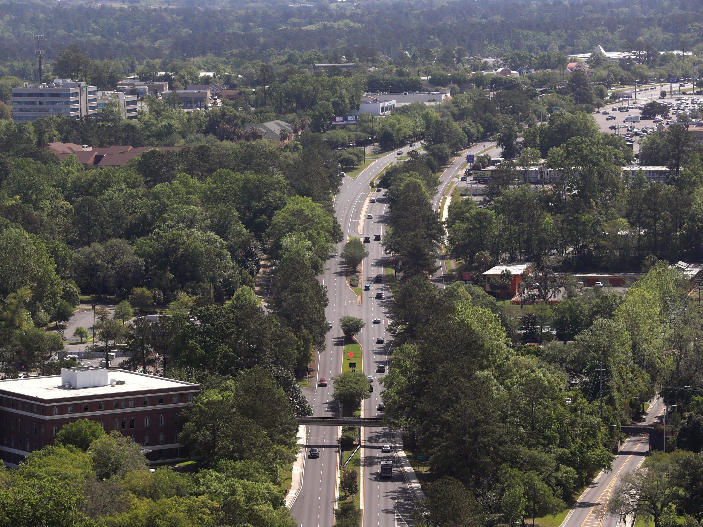The sylvan view looking East down Apalachee Parkway