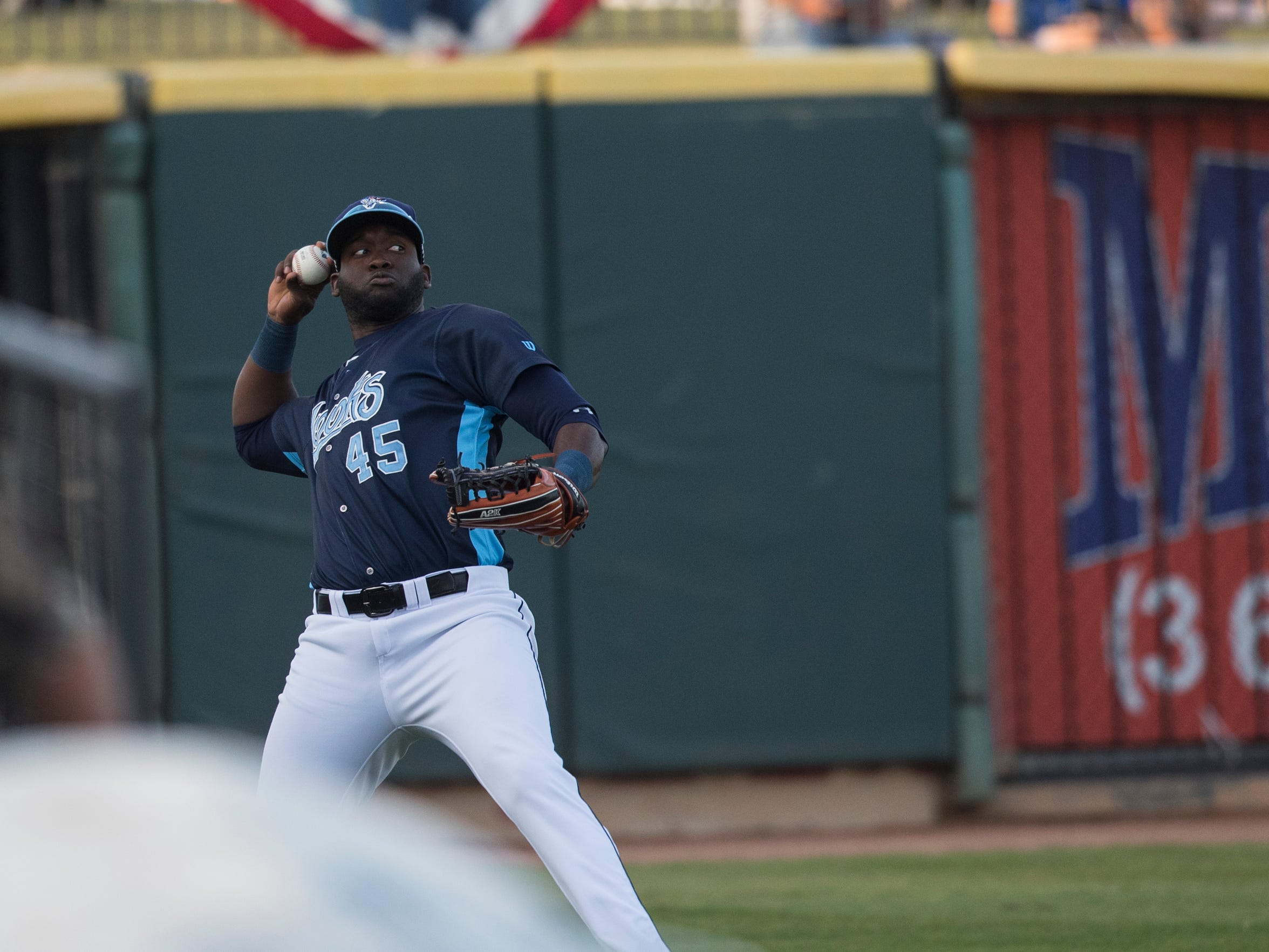 Hook's Yordan Alvarez  throws the ball from the outfield during their season opener against Northwest Arkansas Naturals on Thursday, April 12, 2018 at Whataburger field.