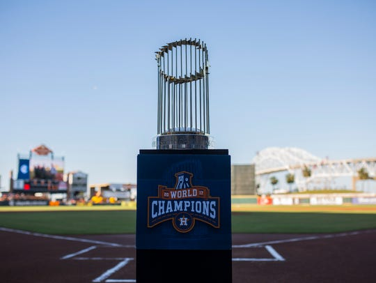 The Houston Astros World Series trophy sits at home