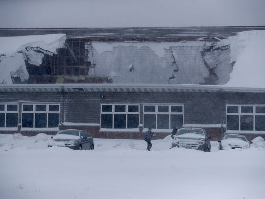 Heavy snow caused a partial collapse of the roof Sunday
